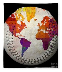 World Map - Rainbow Bliss Baseball Square Fleece Blanket