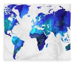 World Map 17 - Blue Art By Sharon Cummings Fleece Blanket