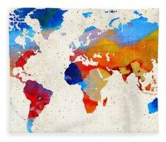 World Map 18 - Colorful Art By Sharon Cummings Fleece Blanket