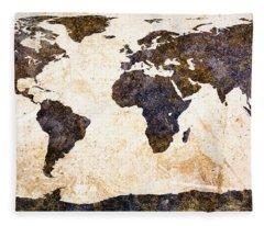 World Map Abstract Fleece Blanket
