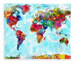 World Map Spattered Paint Fleece Blanket