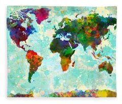 World Map Splatter Design Fleece Blanket