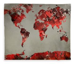 World Map - Watercolor Red-black-gray Fleece Blanket