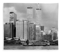 New York City - World Trade Center - Vintage Fleece Blanket