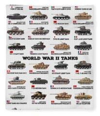 World War II Tanks Fleece Blanket