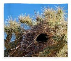 Wrens Nest In Teddy Bear Cholla Fleece Blanket