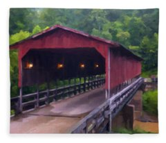 Wv Covered Bridge Fleece Blanket