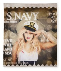 Wwi Recruiting Postage Stamp. Navy Sailor Girl Fleece Blanket