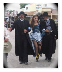 Wyatt Earp  Doc Holliday Escort  Woman  With O.k. Corral In  Background 2004 Fleece Blanket