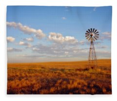 Windmill At Sunset Fleece Blanket