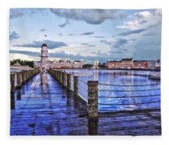 Yacht And Beach Club Lighthouse Fleece Blanket