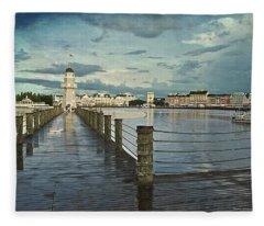 Yacht And Beach Lighthouse Disney World Textured Sky Fleece Blanket