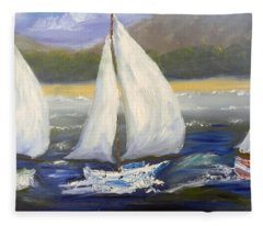 Yachts Sailing Off The Coast Fleece Blanket