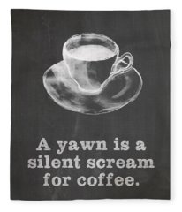 Yawn For Coffee Fleece Blanket