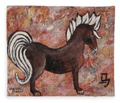 Fleece Blanket featuring the painting Year Of The Horse by Darice Machel McGuire