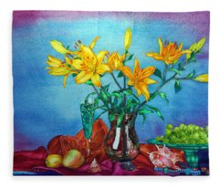 Yellow Lily In A Vase Fleece Blanket