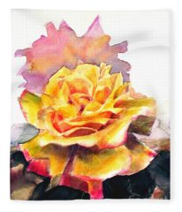 Yellow Rose Fringed In Red Fleece Blanket