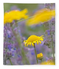 Yellow And Purple Flowers On A Green Summer Meadow Fleece Blanket