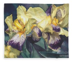 Watercolor Of A Tall Bearded Iris Painted In Yellow With Purple Veins Fleece Blanket