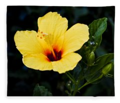 Yellow And Red Hibiscus Fleece Blanket