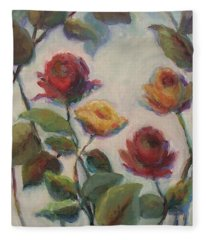 Yellow And Red Roses  Fleece Blanket