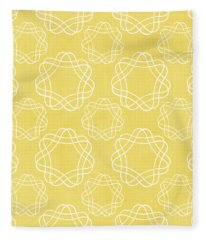 Yellow And White Geometric Floral  Fleece Blanket