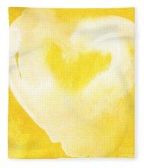 Yellow And White Love Fleece Blanket