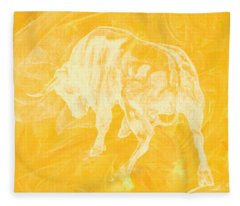 Yellow Bull Negative Fleece Blanket