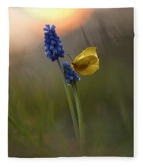 Yellow Butterfly On Grape Hyacinths Fleece Blanket