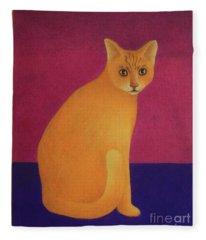 Yellow Cat Fleece Blanket