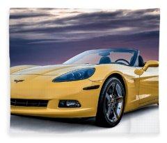Yellow Corvette Convertible Fleece Blanket