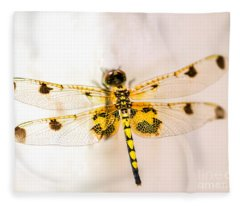 Yellow Dragonfly Pantala Flavescens Fleece Blanket