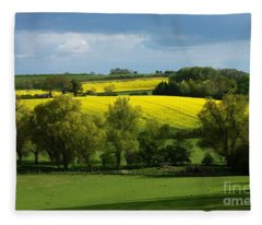Yellow Fields In The Sun Fleece Blanket