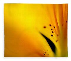 Yellow Infinity. Lily Macro Fleece Blanket