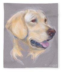 Yellow Labrador Retriever Portrait Fleece Blanket