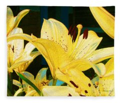 Yellow Lilies Fleece Blanket