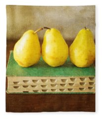 Yellow Pears And Vintage Green Book Still Life Fleece Blanket