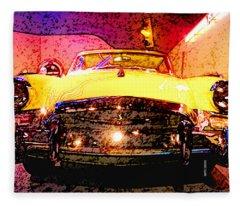 Yellow Studebaker Headlights Fleece Blanket