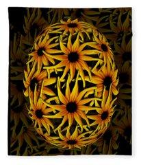 Yellow Sunflower Seed Fleece Blanket