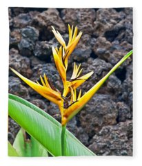 Yellow Tropical Flowers Heliconia Fleece Blanket