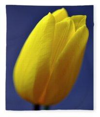 Yellow Tulip On Blue Background Fleece Blanket