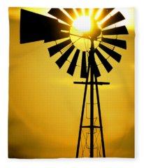 Yellow Wind Fleece Blanket