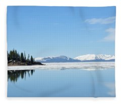 Yellowstone Lake In The Spring Fleece Blanket