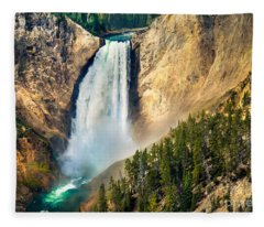 Yellowstone Lower Waterfalls Fleece Blanket