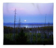 Yellowstone Moon Fleece Blanket