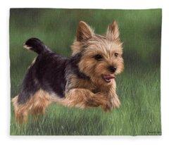 Yorkshire Terrier Painting Fleece Blanket