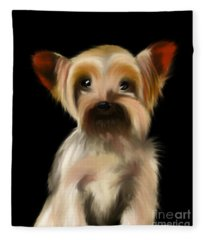 Yorkshire Terrier Pup Fleece Blanket