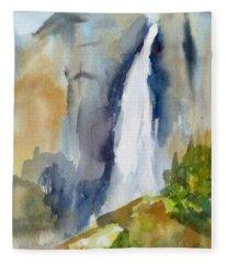Yosemite Falls Springtime Fleece Blanket