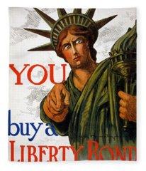 You Buy A Liberty Bond, 1917 Fleece Blanket