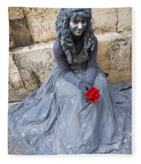 Young Woman Busker In Syracusa Sicily Fleece Blanket